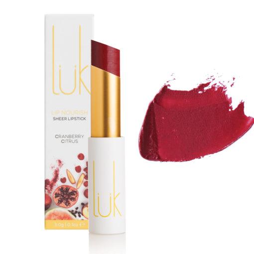 Luk Beautifood Lipstick Cranberry Citrus Box Stick Swatch